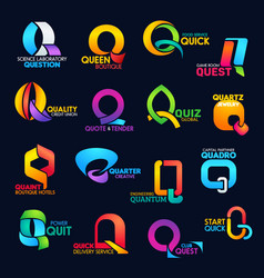Q letter corporate identity business font icons vector