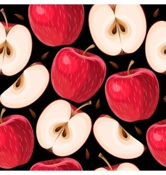 Red apples and apple slices seamless vector