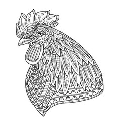 rooster head adult anti stress coloring page vector image