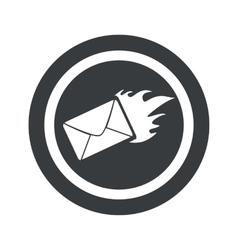 Round black burning letter sign vector