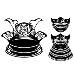 Samurai helmet menpo and mempo with yodare kake vector