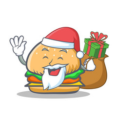 Santa burger character fast food with gift vector