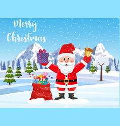 Santa claus with a bag of toys vector