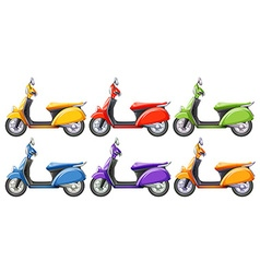 Scooters in six different colors vector image