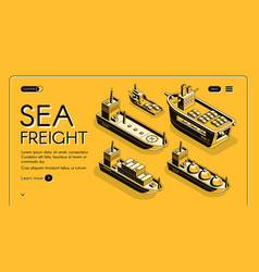 Sea freight transport company web banner vector