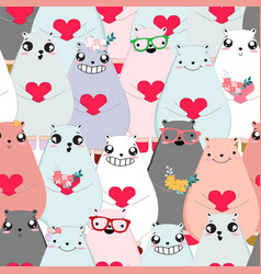seamless pattern cute animal cartoon vector image