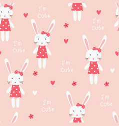 Seamless pattern with bunny girl vector