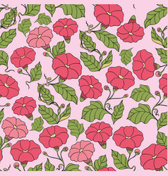 Seamless pattern with flowers on a pink vector