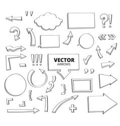 set hand drawn doodle arrows pen design vector image