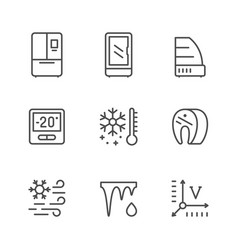 set line icons fridge vector image