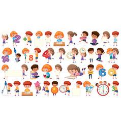 Set mathematic kids character vector