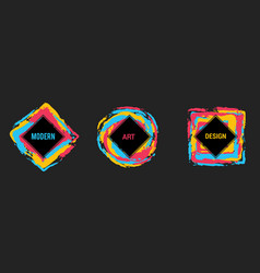set of colorful frames for text modern art vector image