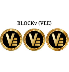 Set of physical golden coin blockv vee vector