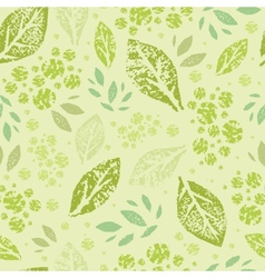 Stamped green Leaves Seamless Pattern Background vector image