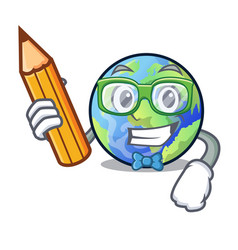 Student earth above the sky the mascot vector