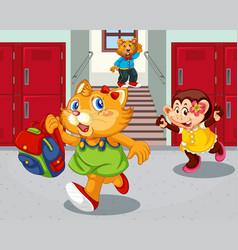 student in school hallway vector image