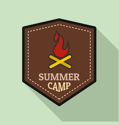 Summer fire camp logo flat style vector