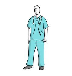 Surgeon standing sketch hand drawn vector