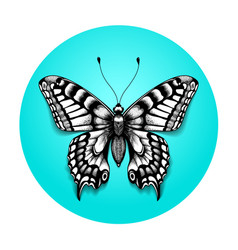 Tattoo realistic butterfly in blue circle vector