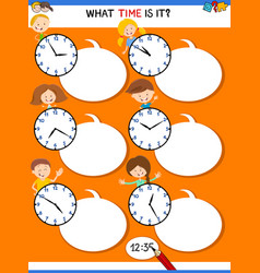 Telling time educational task with funny kids vector