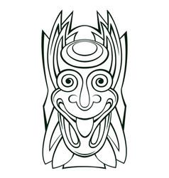 Tiki idol mask line art vector