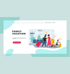 tourists landing page family on vacation with vector image