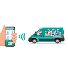Van for delivery drugs and smartphone vector