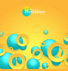 Vibrant turquoise and orange circles abstract vector