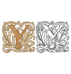 Vintage initial letter y with baroque decoration vector
