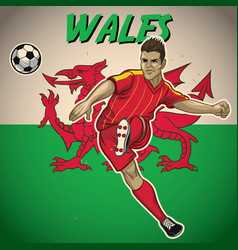 wales soccer player with flag background vector image