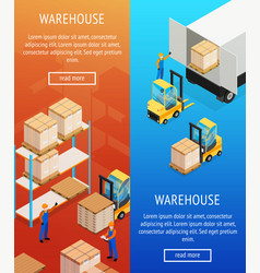 warehouse vertical isometric banners vector image