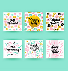 wedding greeting postcards vector image
