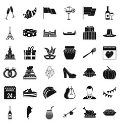 wine celebration icons set simple style vector image