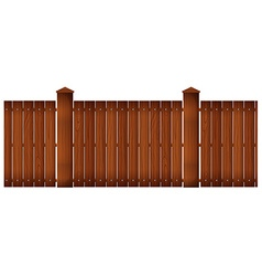 Wooden fence with posts vector
