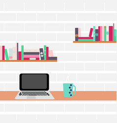 Workplace computer and bookshelves on a brick wall vector