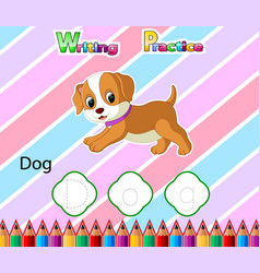 Worksheet writing practice alphabet d for dog vector