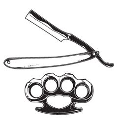 brass knuckles and razor vector image