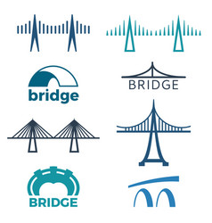 bridge logos collection of isolated vector image vector image
