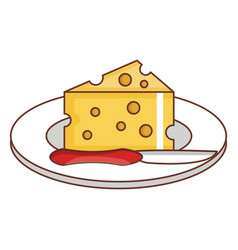 Dish with cheese piece and knife vector