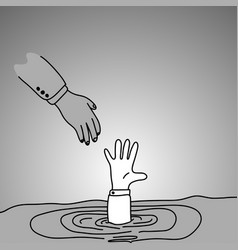 drowning businessman getting hand of another man vector image