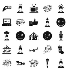 emotion icons set simple style vector image vector image