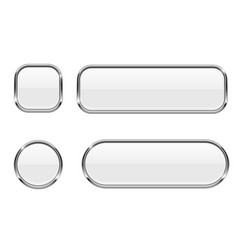 white buttons glass 3d icons with chrome frame vector image vector image