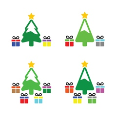 Christmas tree with present icons set vector image
