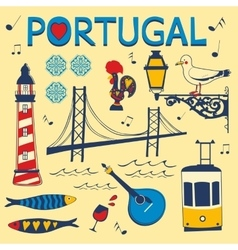 Stylish collection of typical portuguese icons vector