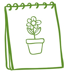 A notebook with a drawing of a flower in a pot vector image vector image