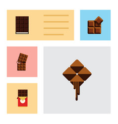 Flat icon cacao set of delicious wrapper dessert vector