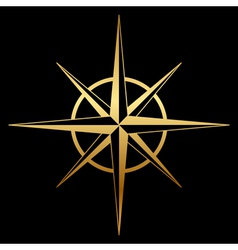 gold compass icon vector image vector image