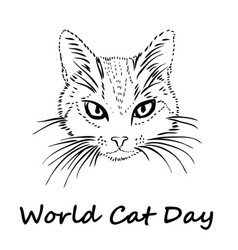 happy cat day world cat day vector image vector image