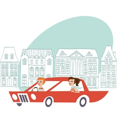 Ladies driving auto vector image vector image
