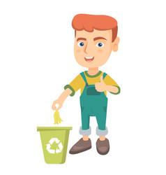 little boy throwing banana peel in recycling bin vector image